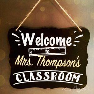 Chalk board teachers classroom sign